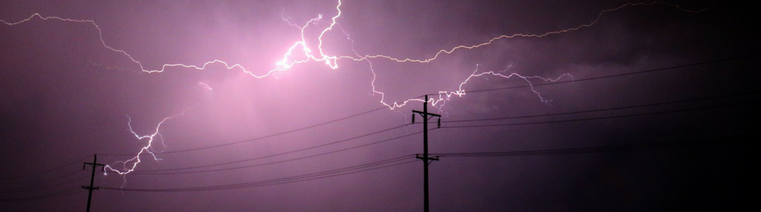 Lightning bolt hitting a telephone pole